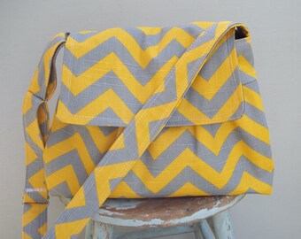 Yellow Grey Chevron Messenger Bag - 2 Slip Pockets - Key Fob - Adjustable Strap