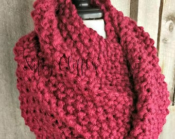 Oversized Chunky Infinity Scarf - Made to Order - Wine Burgundy Dark Red