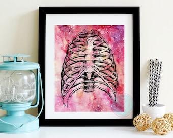PRINTABLE ART Anatomy Rib Cage Rib Cage Human Rib Cage Anatomy Art Print Anatomy Poster Anatomy Decor Human Anatomy Art Human Anatomy Print