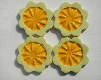 Yellow mosaic Flower Tiles-Stoneware Flower Tiles-2.00 each