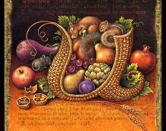Gratitude art print, Uberous: Vegetable & fruit basket with mouse, squirrel, chipmunk.  Kitchen decor, Thanksgiving harvest art, letter U