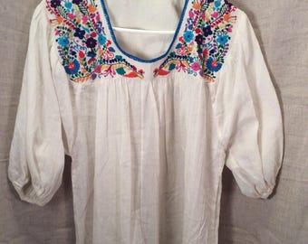 Ethnic peasant embroidered blouse cotton large