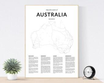 australia map print australia wall map australia print australia poster black and