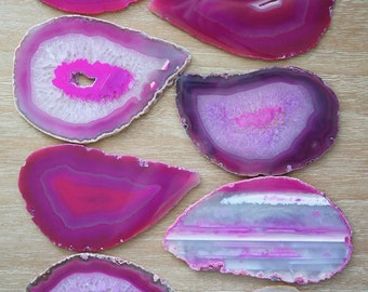 AGATE Coasters 8 Tear Drop Fuchsia Hot Pink White Crystal Geode Stone Slices Choose Gold Silver Copper Edges Holiday Wedding Birthday Gift