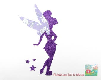 Applied fairy patch purple liberty purple and glitter flex fusible iron-on appliqué fairy fairy fairy fusible
