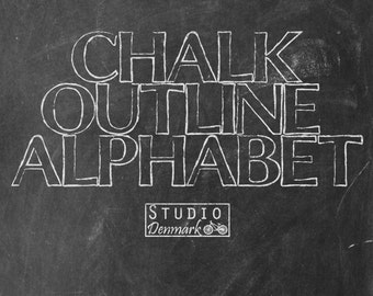 Chalk Outline Alphabet - 45 Elements - Realistic Chalk Alpha Effect  - Commercial Use - Instant Download Chalk Letters