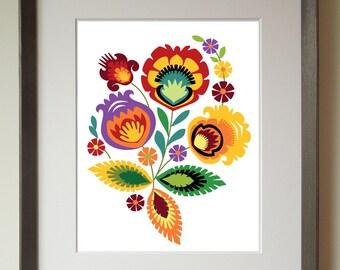 Polish Folk Art Design, Red Flower