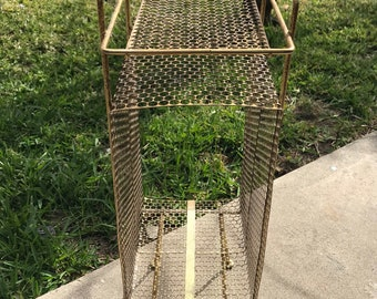 Vintage MCM atomic retro gold mesh wire phone plant stand