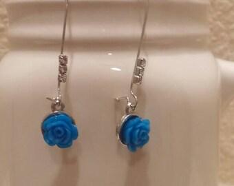 Blue Rose and Rhinestone Earrings