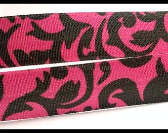 "Black Dark Pink Floral Pattern Designs Print FOE Ribbon 5/8"" Hair Bow AZ392"