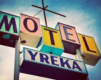 Yreka Motel Sign | Mid Century Modern Home Decor | Retro Wall Art | Googie Art | Pastel Home Decor | Motel Print | Guest Room Decor