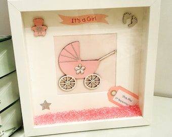 New Baby Gift - Handmade Personalised Deep Frame - Baby Girl or Baby Boy
