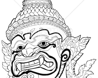 Thai Demon Black and White - Vector Illustration.giant, god, guardian, king, monster, thailand, asian, siam, head, face, portrait