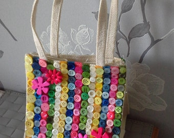 Small Button Tote Bag