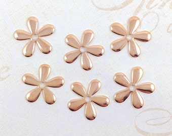 Rose Gold Flower, Flower Stamping, Daisy Bead Cap, Flower Embellishment, 17mm - 6 pcs. (rg170)