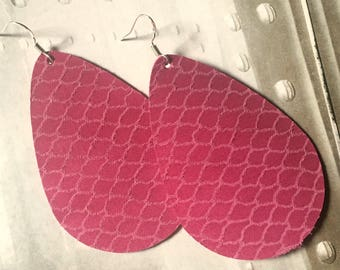 Rupert and Stella Leather Earrings, Lipstick