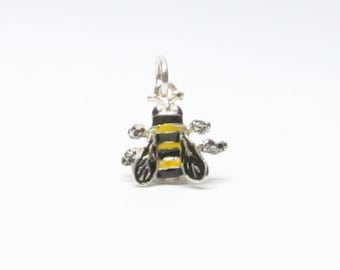 BEE Charm, Bee Necklace Pendant, Sterling Silver Bee, Bee Jewelry, Bumble Bee Charm, Enamel Charms, Silver Charms, Brown County Silver