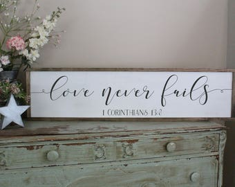 Love Never Fails Framed Wood Sign, Scripture Wall Art, Christian Home Decor, Farmhouse Style Decor, Large Sign Saying, 1 Corinthians 13 Sign