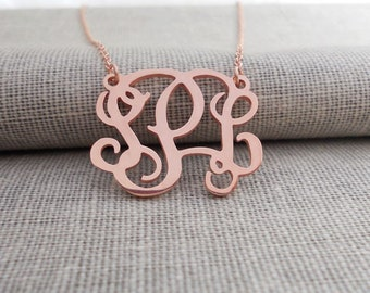 Monogramm Necklace 2 inch,Monogram Necklace Rose Gold,Monogram Initials Necklace,Monogram Initials Jewelry,Bridesmaids Gift
