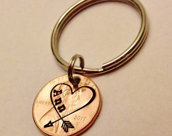 Penny Heart Keychain, Arrow, Carved Heart Initials, Custom Name or Initials, Personalized Hand Stamped Girlfriend Boyfriend Anniversary Gift