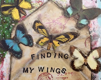 Finding My Wings Still Work 6x6 Inch Matted Print (Fits In A 8x10 Inch Frame) Made With Archival Inks