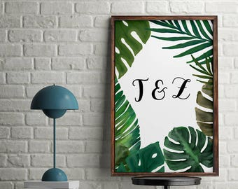 Tropical Initials Name Print, Personalise, Green, Home Print, A4 or A5, Quality PaperA3