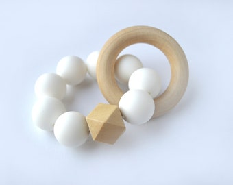 White Round and Wood Baby Silicone 19mm Teether with Wooden Ring // Baby Shower Gift // Newborn Gift // Birthday Gift // Baby Gifts