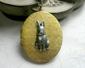 Bunny rabbit locket, vintage brass - large oval locket necklace, long chain