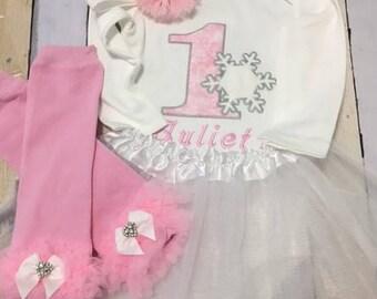 Baby girls first birthday, lst birthday tutu outfit, snow flake birthday, Frozen birthday outfit, cake smash girls outfit, winter birthday