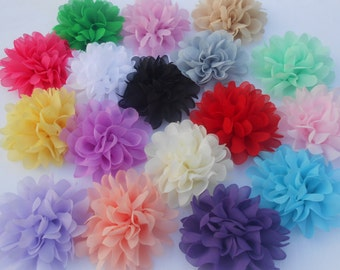 Set of 14 Chiffon Flowers , use in DIY craft for baby,children accessories