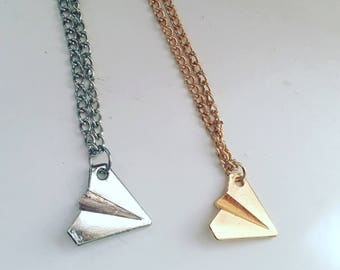 Paper Airplane Metal Charm Necklace in Silver or Gold