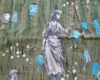 VINTAGE 1950's Fabric/ Picnic Scene in Green and Aqua Cotton - available