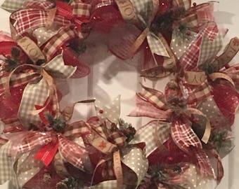 Christmas Wreath, Rustic Christmas Wreath, Berry Wreath, Handmade Christmas Wreath, Red Christmas Wreath, Ribbon Christmas Wreath,