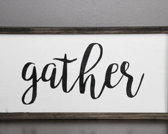 Gather wood sign | Gather framed sign | Farmhouse wooden sign | Kitchen wall art | Autumn wall art | Fixer upper wall decor | Framed art