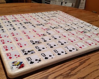 One Eyed Jack Board Game, 5 in a row, Deluxe,Poker Chips & Cards,Heirloom,Stategy, Hand made Board game, family fun