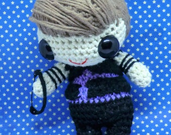 Hawkeye (Clint Barton) amigurumi style PDF crochet pattern inspired by the Avengers