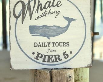 Beach Wall Art - Beach House Decor - Whale Watching Sign - Nursery Sign - Nautical Art