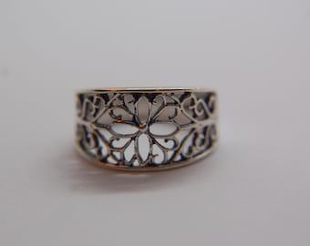 Vintage Sterling Silver Artisan Filigree Ring, Size 6