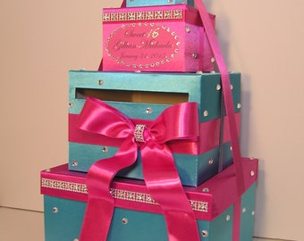 Quinceañera / Sweet 16 / Wedding Card Box Gift Card Box Hot pink and Turquoise Money Box  Holder--Customize in your color-Custom Made