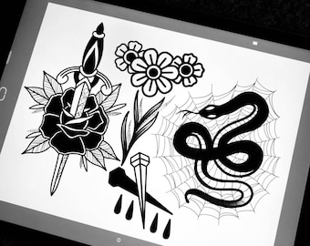 Traditional Blackwork art print High quality A4 , dagger/rose, Snake, Flowers and Coffin nail