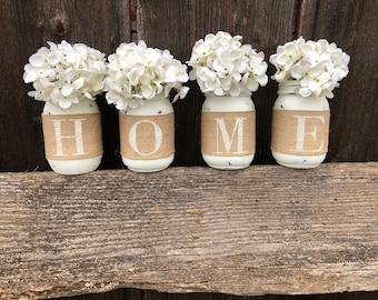 Home Mason Jar Decor, Home Decor, Mantle Decor, Housewarming Gift, Wedding Gift, Mason Jar Gifts, Spring Summer Decor, Set of 4