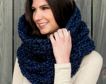 Chunky Cowl Hooded Cowl Wool Snood Cowl Scarf Womens Scarf Wrap Shrug Handmade Knit Scarf - Noni Tunnel Cowl Denim or Choose Your Color