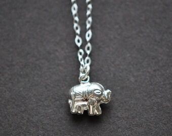 Elephant Necklace - Elephant Pendant - Tiny Elephant Silver Necklace - Sterling Silver Jewelry - Tiny Elephant Totem Necklace