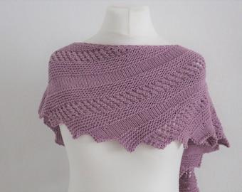 """Shawl Knitting PATTERN PDF, Knitted Shawl Pattern, Lace Shawl Wrap, asymetrical Shawl """"Zick and Zac"""""""