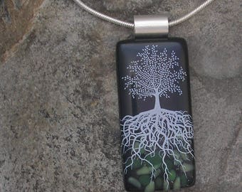 Midnight Tree of Life Necklace Fused Glass Tree Roots Pendant