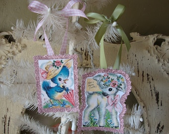 Vintage Easter card tags glittered paper ornaments cute chicks and lambs party favors gift tags package ties easter gift wrap