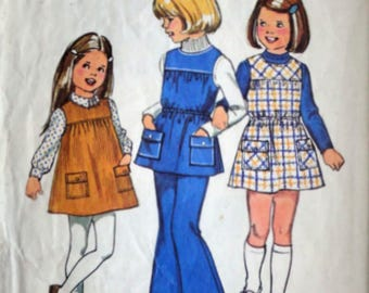 Vintage 70's Simplicity 5937 Sewing Pattern, Girls Jumper or Tunic & Bell-Bottom Pants, Size 4, 23 Breast, Retro 1970's Kids Fashion