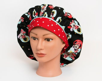Minnie Mouse Many Poses Bouffant Scrub Hat