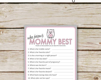 You know etsy pink owl baby shower who knows mommy best game printable download owl baby shower game how well do you know the mommy to be game stopboris Choice Image