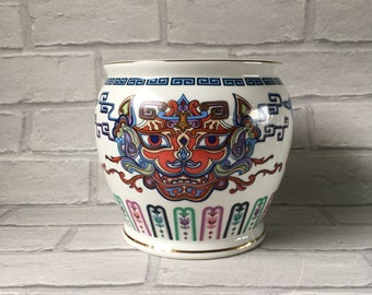 The Courage of The Terrestrial Tiger Pot Jar Jardiniere Franklin Mint Collectable Inspired byArtist Chien-Ying May Large Pot Planter
